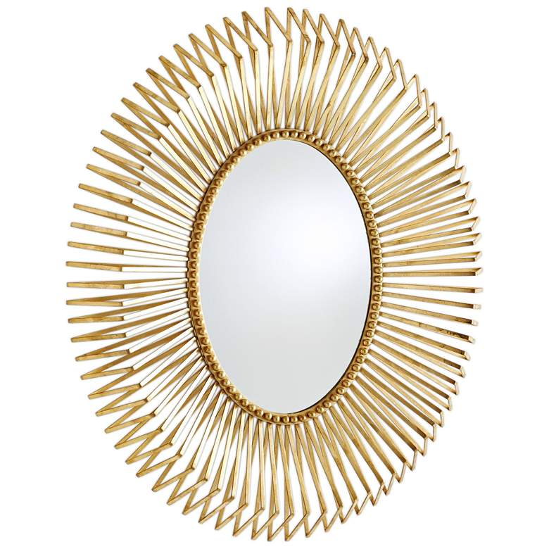 """Andrea Gold Leaf 32"""" x 38"""" Oval Wall Mirror"""