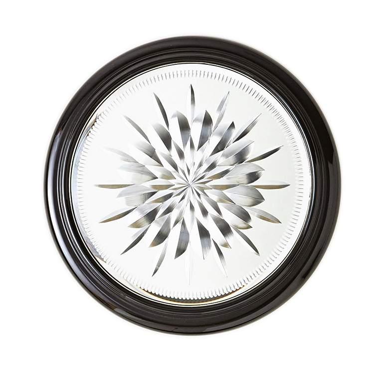 "Star Cut Black Cerused Oak 15"" Round Small Wall Mirror"