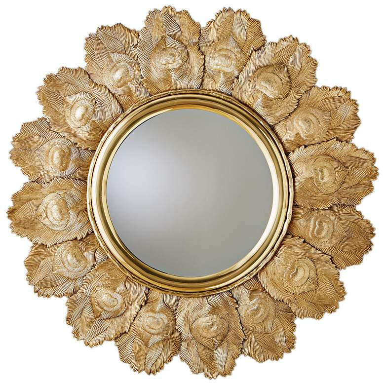 """Peacock Feather Brass 35 1/2"""" Round Wall Mirror"""
