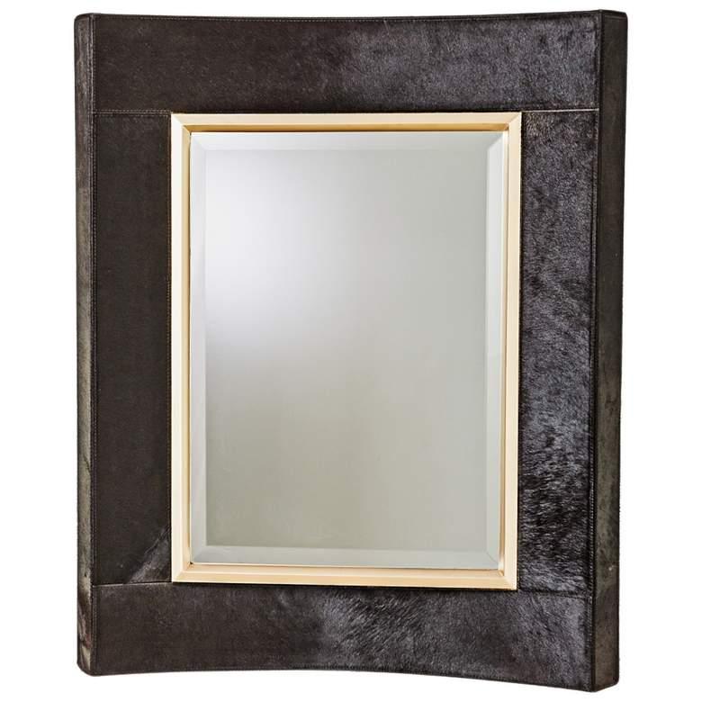 "Curved Short Black Hair-On-Hide 30"" x 36"" Wall Mirror"