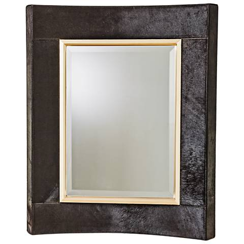 "Curved Short Black Hair-On-Hide 30"" x 36"" Wall Mirror"