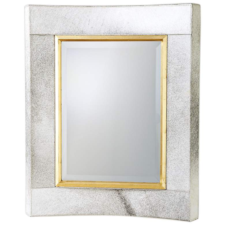 """Curved Short White Hair-On-Hide 30"""" x 36"""" Wall Mirror"""