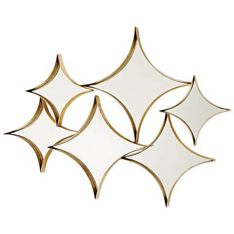 """Stardust Gold Leaf 6-Piece 43"""" x 33 1/2"""" Mirror Set"""