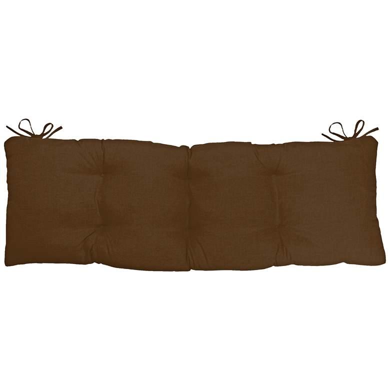 "Sunbrella Kali Canvas Teak 45"" Wide Tufted Bench Cushion"