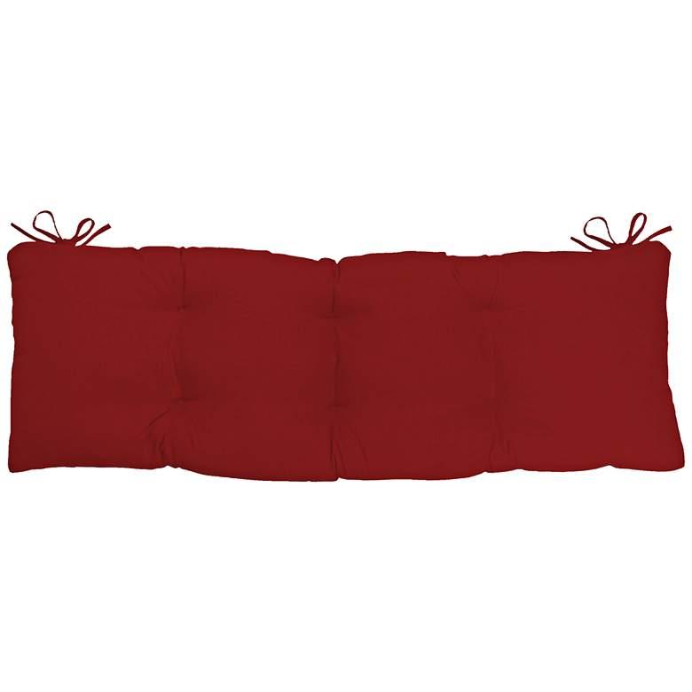 "Sunbrella Kali Canvas Jockey Red 45""W Tufted Bench Cushion"