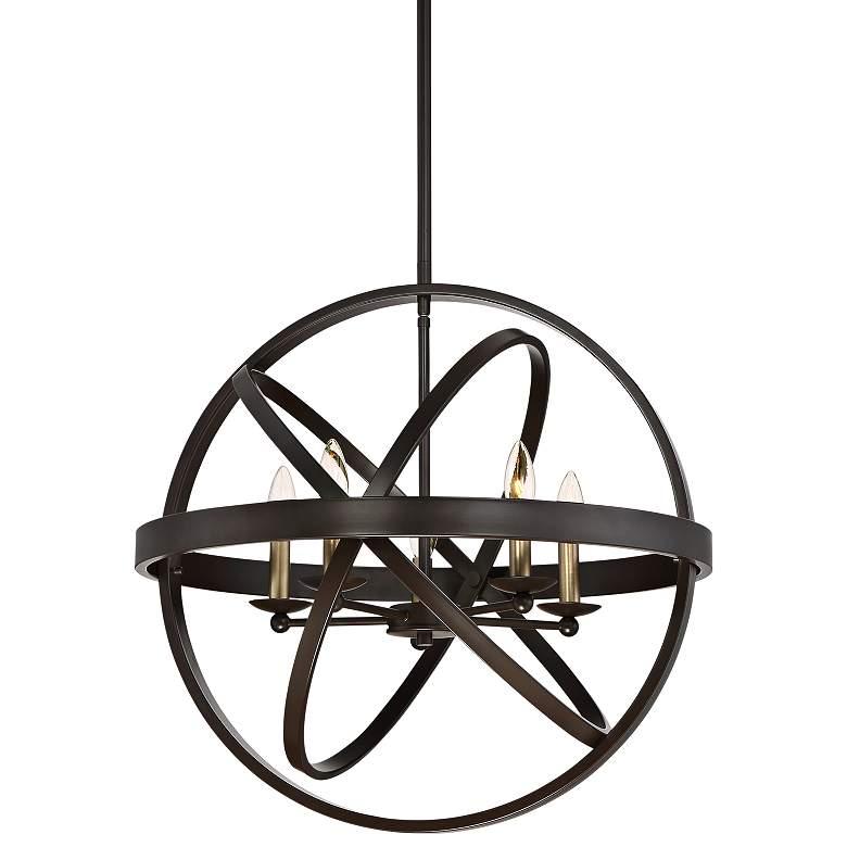 """Quoizel Eons 23"""" Wide 5-Light Bronze Rings Orb Pendant"""