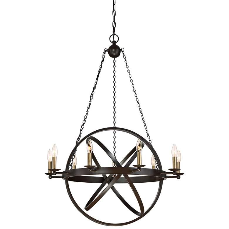 "Quoizel Eons 32"" Wide 9-Light Adjustable Bronze Chandelier"