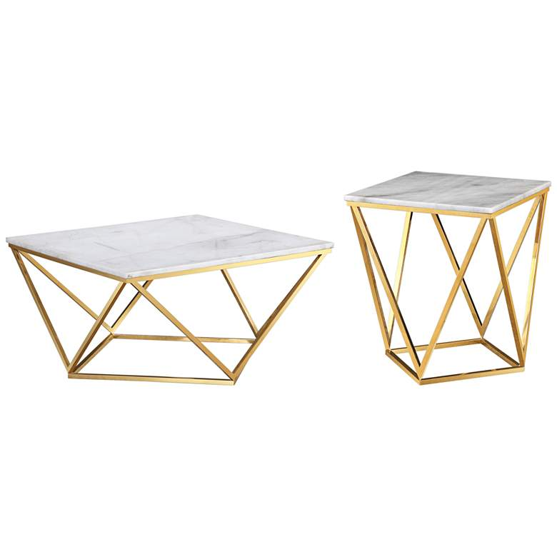 Leopold White and Gold 2-Piece Table Set