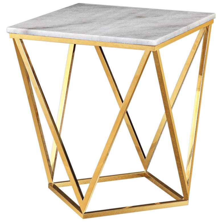"Leopold 18"" Wide Gold and Marble Modern Side Table"