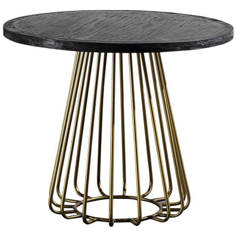 """Madrid 35 1/2""""W Matte Black and Brushed Brass Dining Table"""