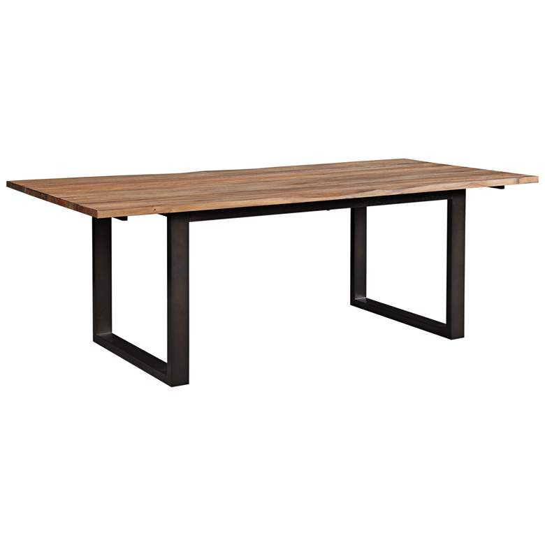 """Carter 86 1/2"""" Wide Rustic and Black Dining Table"""
