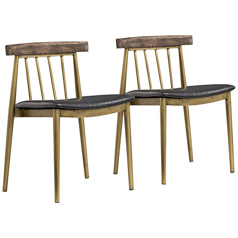Alfie Gray and Brushed Brass Dining Chairs Set