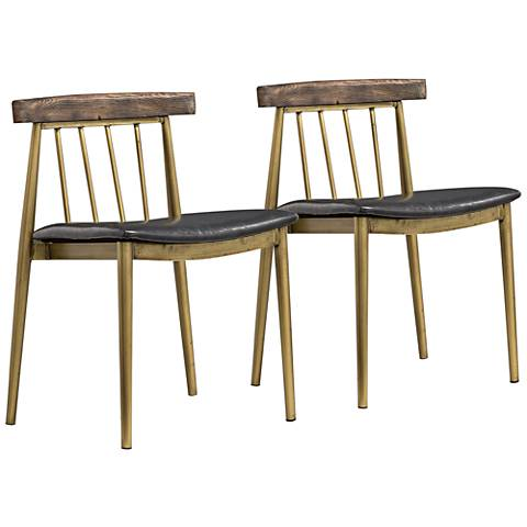 Alfie Gray and Brushed Brass Dining Chairs Set of 2