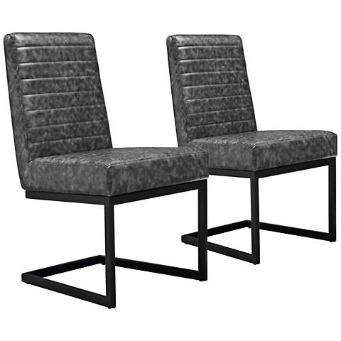 Austin Gray Leather Dining Chairs Set of 2