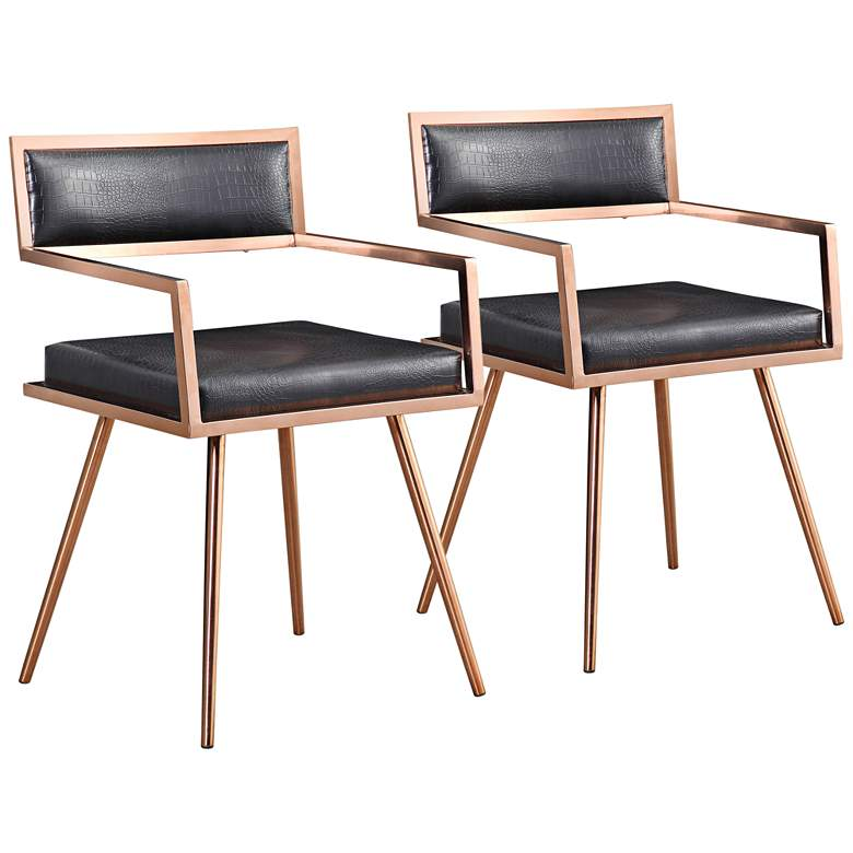 Marquee Black Croc and Rose Gold Armchairs Set of 2