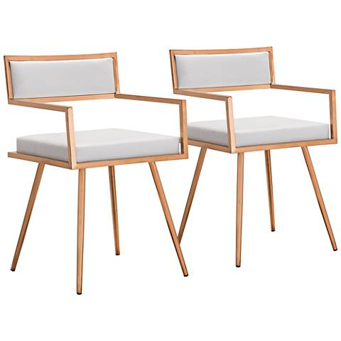 Marquee White Croc and Rose Gold Armchairs Set of 2