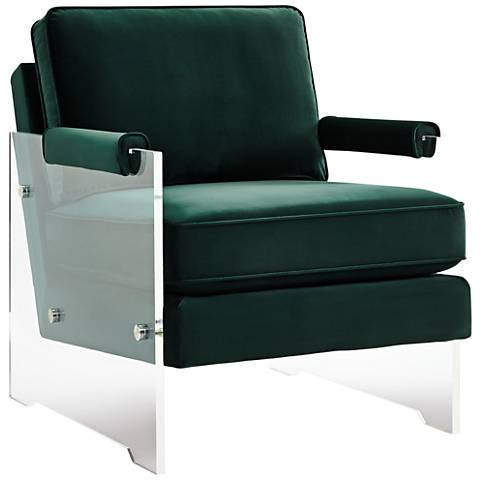 Serena Green Velvet Floating Lucite Accent Chair