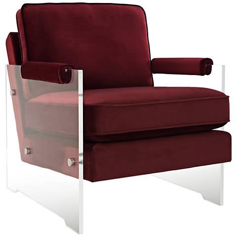 Serena Burgundy Velvet Floating Lucite Accent Chair