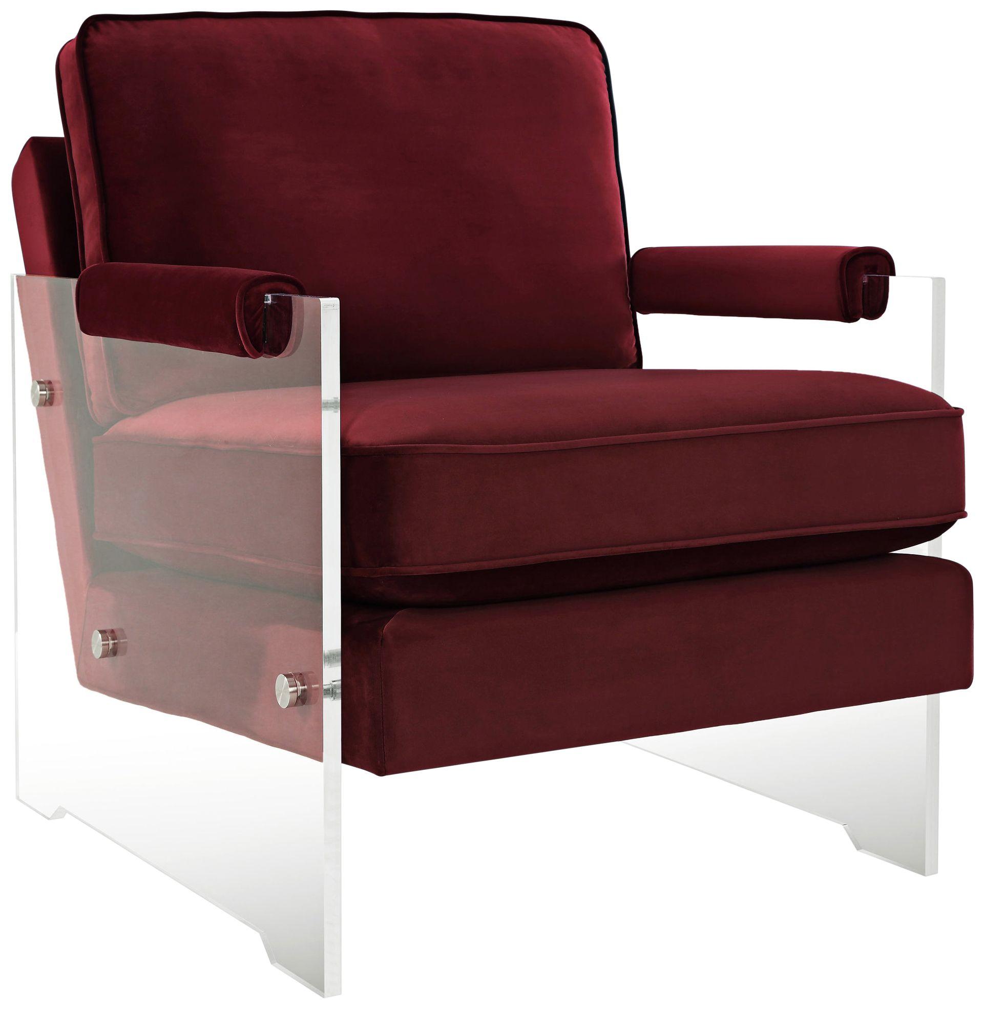 Serena Burgundy Red Velvet Floating Lucite Accent Chair