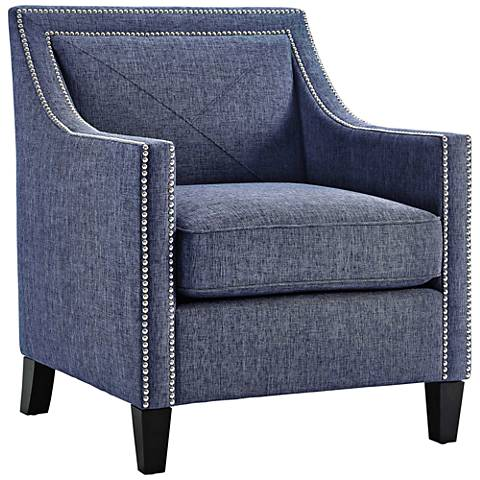 Asheville Blue Linen Accent Armchair