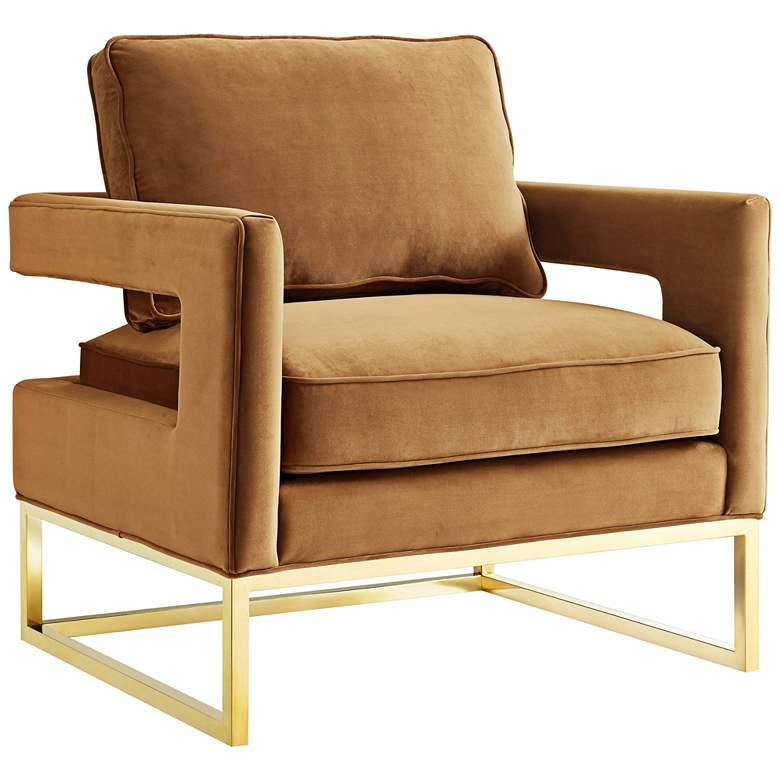 Avery Cognac Velvet Accent Armchair