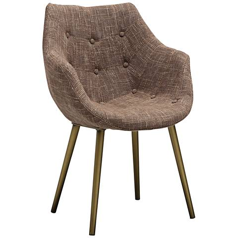 Finn Brown Tweed Fabric Tufted Armchair