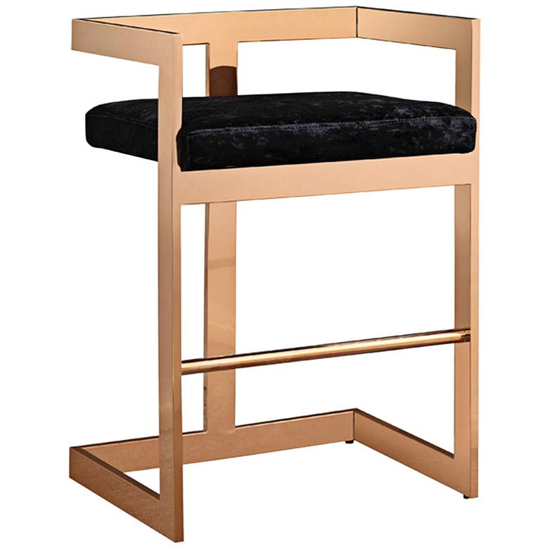 """Marquee 26"""" Black Velvet and Rose Gold Counter Stool"""