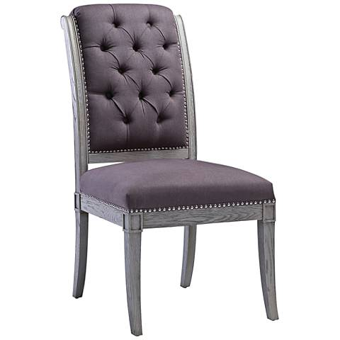 Addington Gray Linen Tufted Side Chair