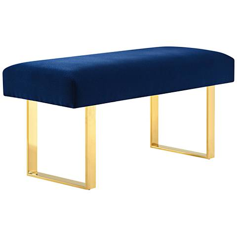 Alexis Navy Velvet Rectangular Bench