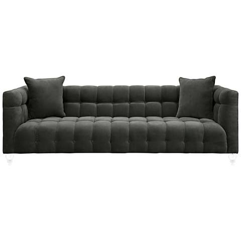 Bea Gray Velvet Tufted Sofa
