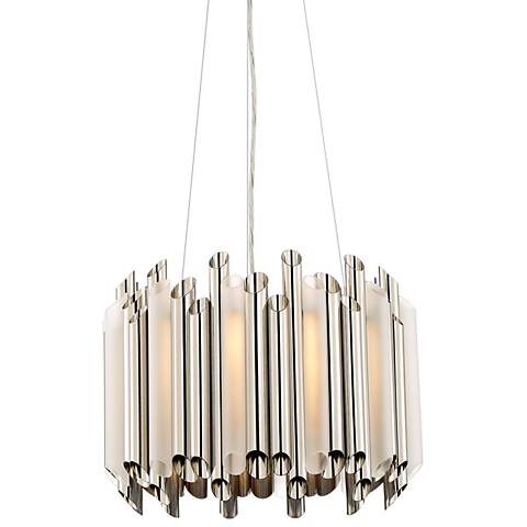 "Quoizel Pipeline 16"" Wide Polished Nickel Pendant Light"