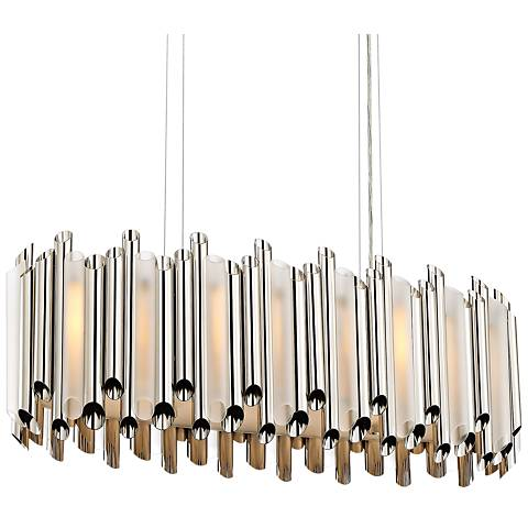 "Quoizel Pipeline 31 3/4""W Polished Nickel Island Chandelier"