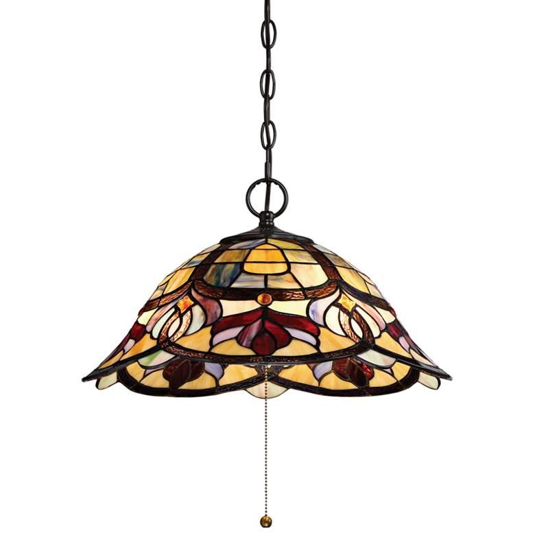 "Quoizel Garland 19 1/2""W Bronze Tiffany Style Pendant Light"