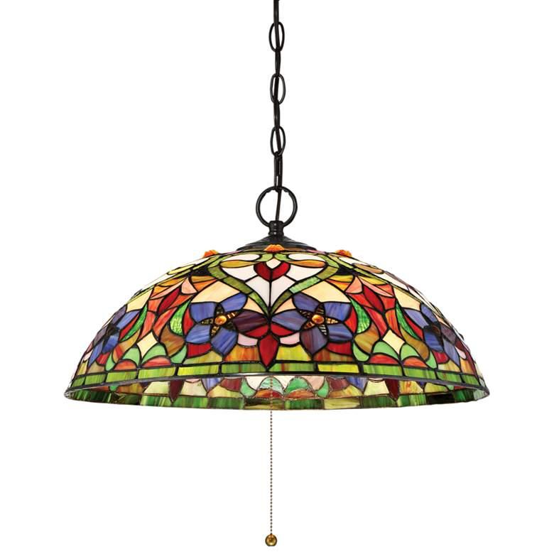 "Quoizel Violets 20"" Wide Bronze Tiffany-Style Pendant Light"