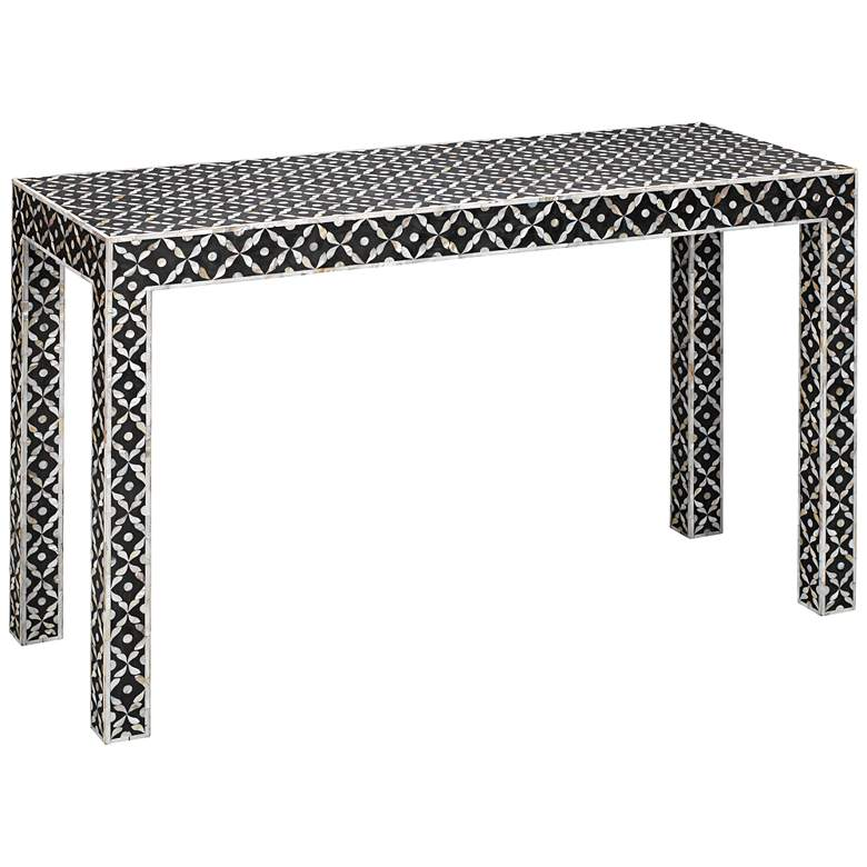 "Evelyn 48"" Wide Gray and White Mother of Pearl Console Table"