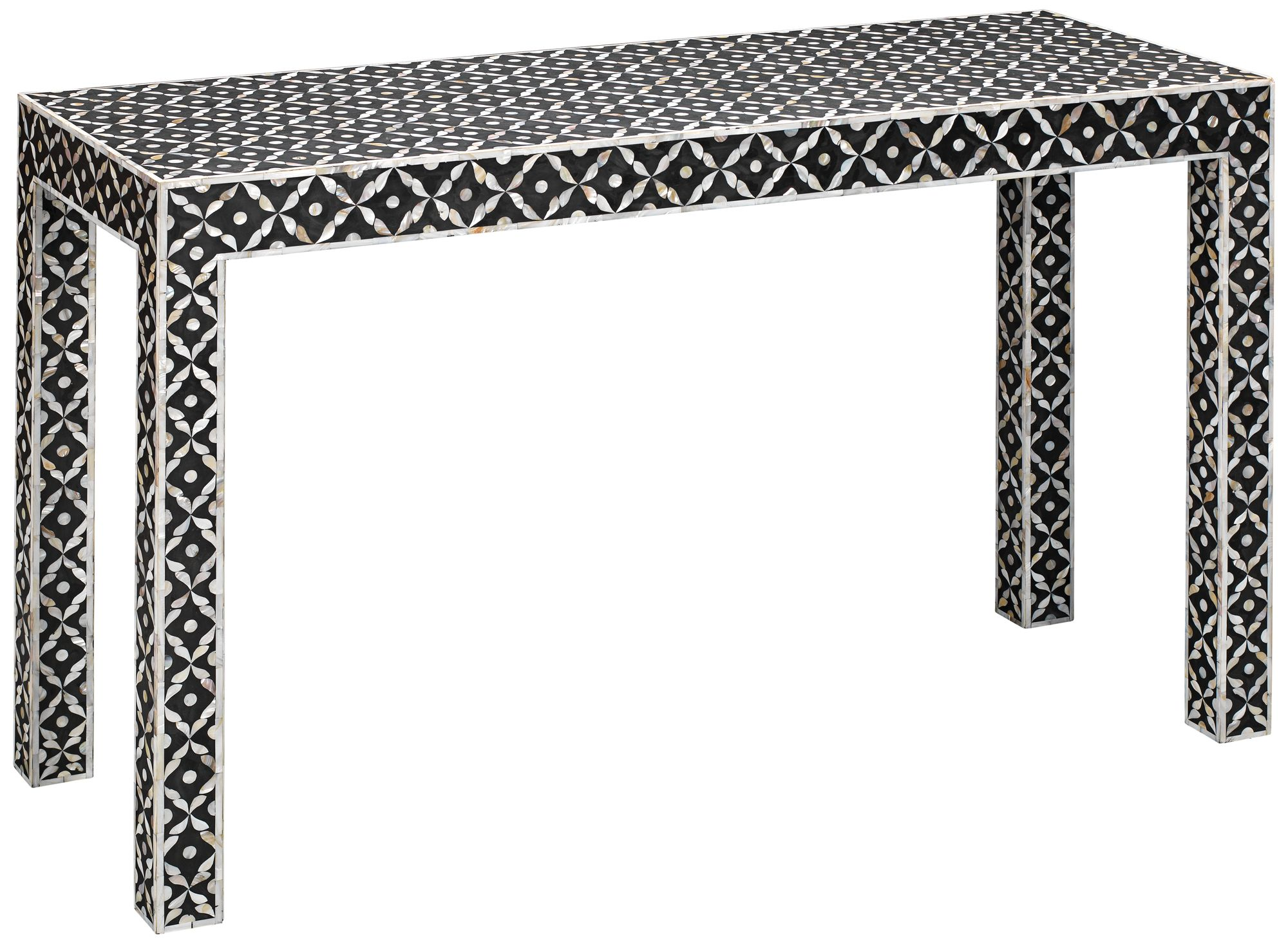 Jamie Young Evelyn Gray White Mother Of Pearl Console Table