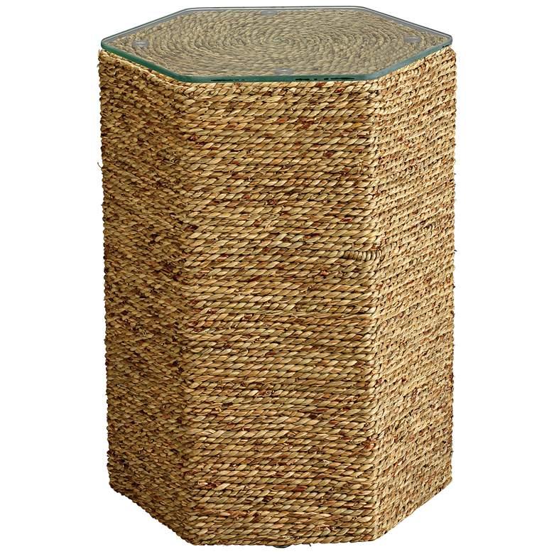 "Peninsula 14 1/2"" Wide Organic Seagrass Hexagonal Side Table"