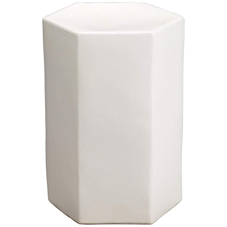 "Porto 11 1/2"" Wide Ceramic Hexagonal Modern Side Table"