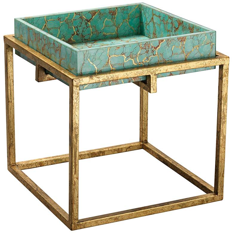 """Shelby 18"""" Wide Turquoise Blue Gold Leaf Accent Table"""