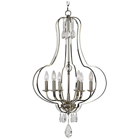"Uttermost Genie 22"" Wide Polished Nickel 6-Light Chandelier"