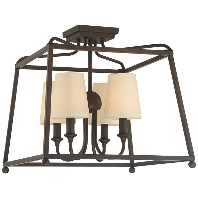 "Crystorama Sylvan 16"" Wide 4-Light Dark Bronze Ceiling Light"