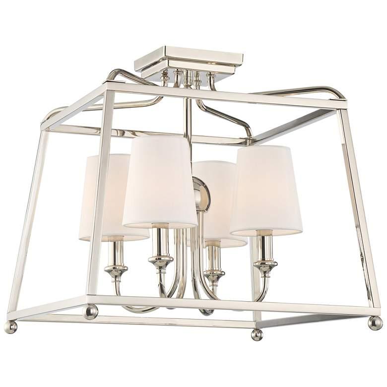 """Sylvan 16"""" Wide Nickel Open Cage Ceiling Light"""