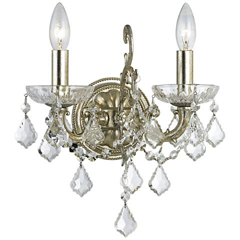 "Highland Park 12 1/2""H Silver Hand-Cut Crystal Wall Sconce"