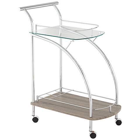 Badin Rectangular Clear Glass and Chrome Serving Cart