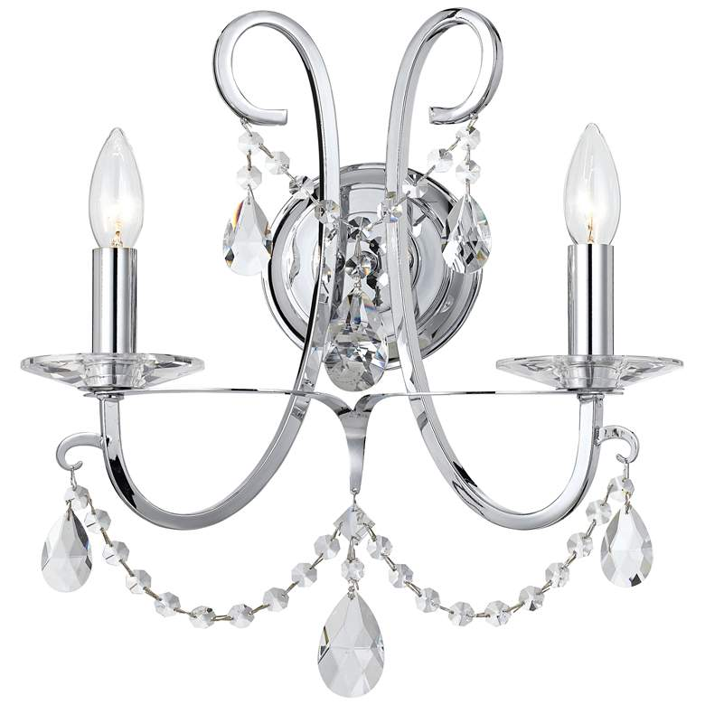 """Othello 15 3/4"""" High Chrome Spectra Crystal Wall Sconce"""