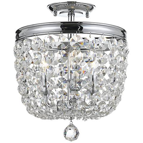 "Archer 11 1/2"" Wide Chrome Hand-Cut Crystal Ceiling Light"