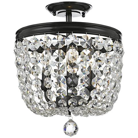 "Archer 11 1/2"" Wide Bronze Hand-Cut Crystal Ceiling Light"