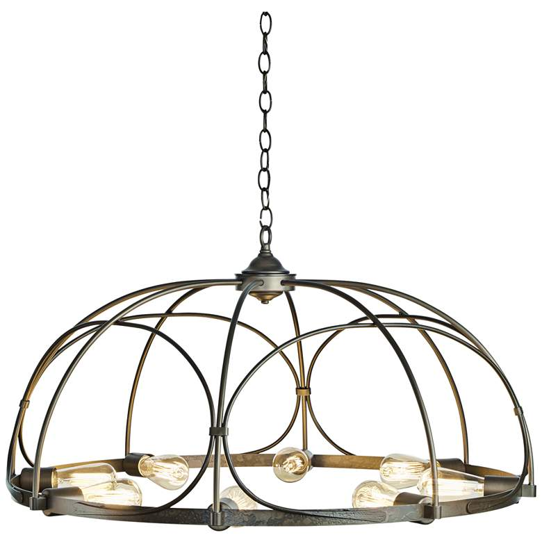 "Hubbardton Forge Arbor 35 1/2"" Wide 8-Light Smoke Chandelier"