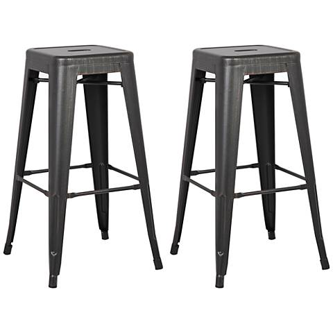 "Castro 30"" Distressed Black Backless Barstool Set of 2"