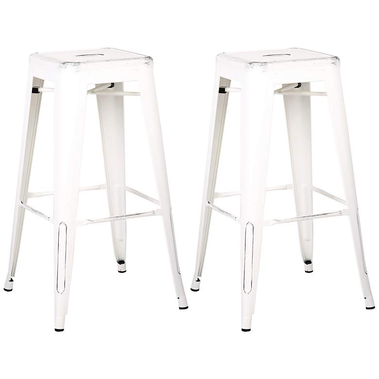"""Castro 30"""" Distressed White Backless Barstool Set of 2"""